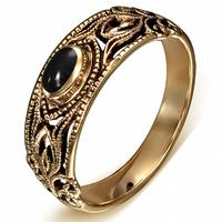 Vintage bronze fingerring med sort onyx