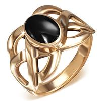 Twist Swirl Bronze Ring Med Onyx