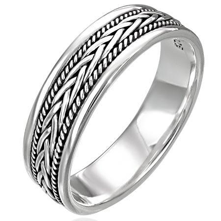 74357aca Herrering I Sølv Med Mønster / Ring Til Ham - Solid Rope Design