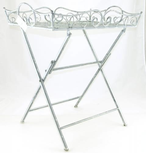 Højmoderne Bakkebord I Hvid Smedejern / Sammenklappeligt Serveringsbord LV-09