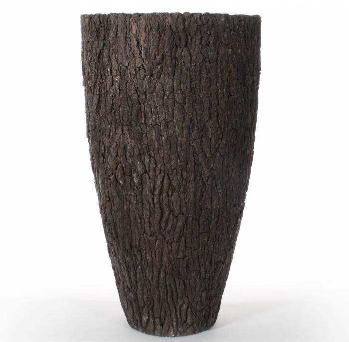 Natur Krukker Med Bark - Høje Koniske Fiberkrukker Med Pinebark