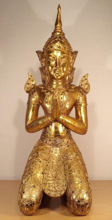 K b unik luksus guld tempelvogter figur med perler tilbud for Buddha figur