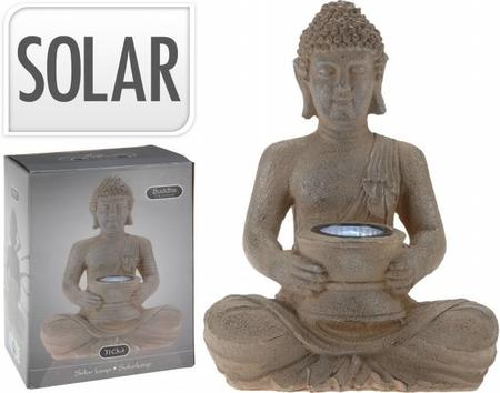 Buddha Med Solcelle Lampe