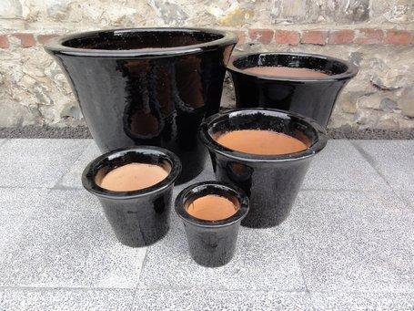Stort glaseret krukkesæt i sort højglans   5 krukker i sæt